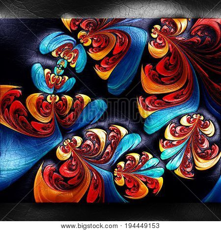 3D rendering of plastic background with embossed bunch of flower fractal on leather