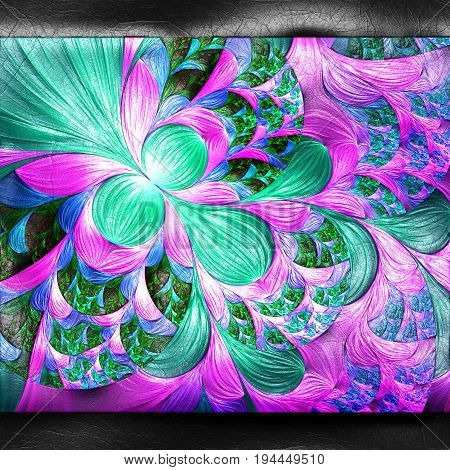 3D rendering of plastic background with embossed purple cyan fractal on leather
