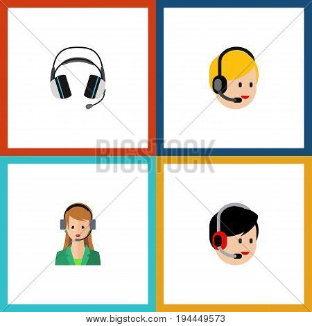 Flat Icon Telemarketing Set Of Operator, Earphone, Secretary And Other Vector Objects. Also Includes Secretary, Call, Headset Elements.