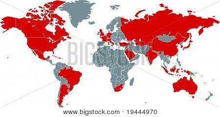 G20 Nations on world map
