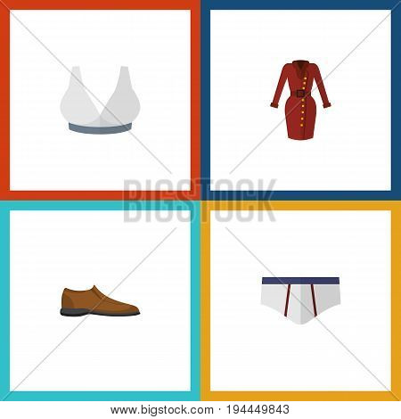 Flat Icon Garment Set Of Clothes, Male Footware, Underclothes And Other Vector Objects. Also Includes Garment, Footware, Dress Elements.