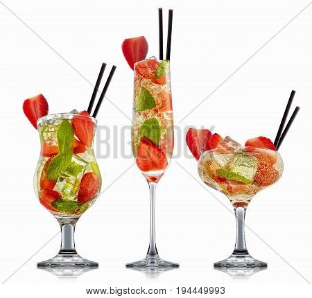 fresh fruit alcohol cocktail or mocktail in classic glass with ice, strawberry and mint isolated on white background