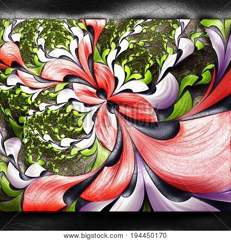3D rendering of plastic background with embossed flower bunch fractal on leather