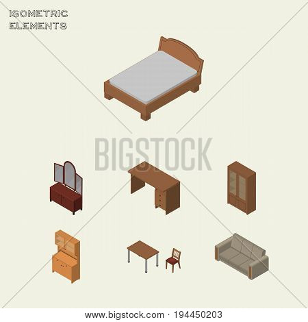 Isometric Furniture Set Of Drawer, Cabinet, Table And Other Vector Objects. Also Includes Couch, Closet, Settee Elements.