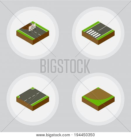 Isometric Road Set Of Footpassenger, Repairs, Upwards And Other Vector Objects. Also Includes Upward, Construction, Sand Elements.
