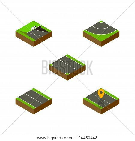 Isometric Way Set Of Flat, Navigation, Underground And Other Vector Objects. Also Includes Plane, Subway, Navigation Elements.