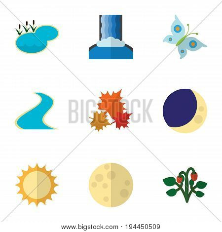 Flat Icon Bio Set Of Tributary, Canadian, Pond And Other Vector Objects. Also Includes Butterfly, Sky, Fruit Elements.