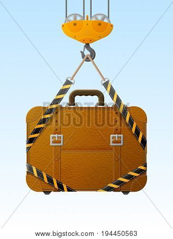 Suitcase hanging on crane hook. Lifting hook raises travel bag with slings. Best vector illustration about travel luggage tourism accessory vacation baggage trip etc