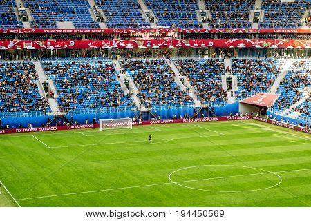 Saint-Petersburg .Russia.22 June 2017. Match Cameroon and Australia at the Confederations Cup in Saint Petersburg arena in St. Petersburg.