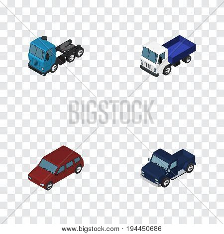 Isometric Automobile Set Of Car, Truck, Lorry And Other Vector Objects. Also Includes Sedan, Lorry, Car Elements.