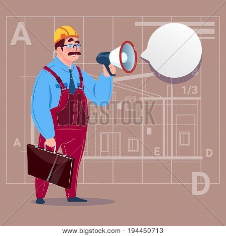 Cartoon Builder Holding Megaphone Making Announcement Construction Worker Over Abstract Plan Background Male Workman Flat Vector Illustration