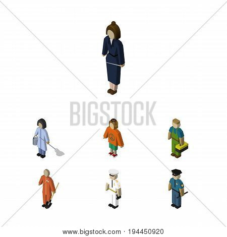 Isometric Human Set Of Officer, Housemaid, Plumber And Other Vector Objects. Also Includes Sailor, Worker, Lady Elements.