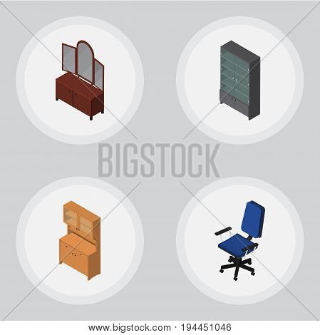 Isometric Design Set Of Cupboard, Office, Drawer And Other Vector Objects. Also Includes Chair, Office, Cupboard Elements.