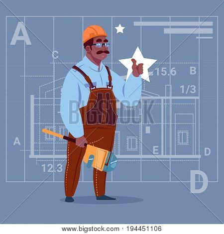 Cartoon African American Builder Wearing Uniform And Helmet Construction Worker Over Abstract Plan Background Male Workman Flat Vector Illustration