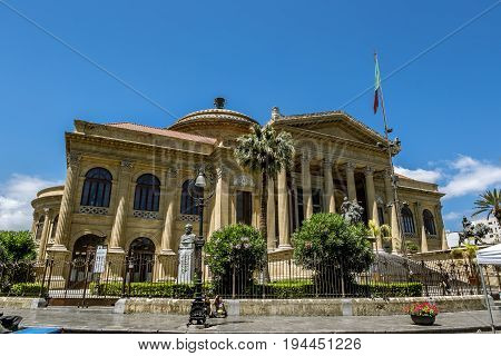 Palermo.Italy.May 26 2017.View of the square and the Massimo theatre in Palermo . Sicily