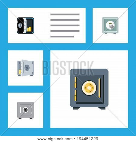 Flat Icon Strongbox Set Of Saving, Banking, Coins And Other Vector Objects. Also Includes Safe, Strongbox, Security Elements.