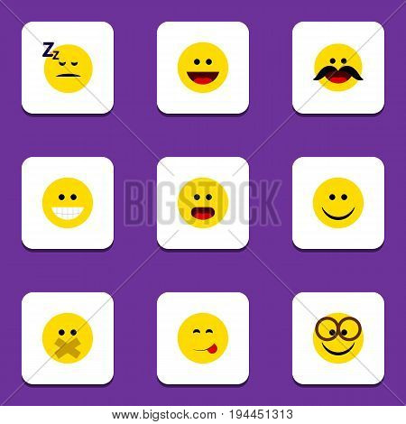 Flat Icon Gesture Set Of Wonder, Cheerful, Joy And Other Vector Objects. Also Includes Food, Savoring, Joy Elements.
