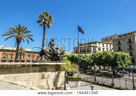 Palermo.Italy.May 26 2017.A view of the Piazza Verdi and the Teatro Massimo in Palermo . Sicily