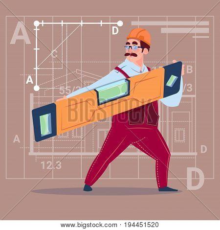 Cartoon Builder Holding Carpenter Level Wearing Uniform And Helmet Construction Worker Over Abstract Plan Background Flat Vector Illustration