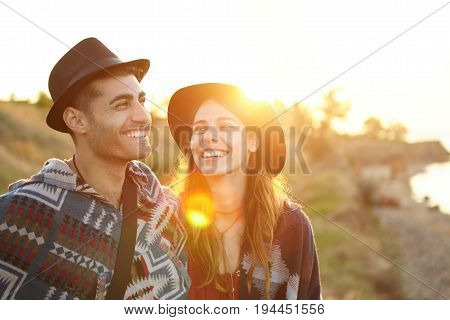 Couple In Love Having Date At Greenland Looking At Sunset Feeling Free And Relaxed Having Happy Expr