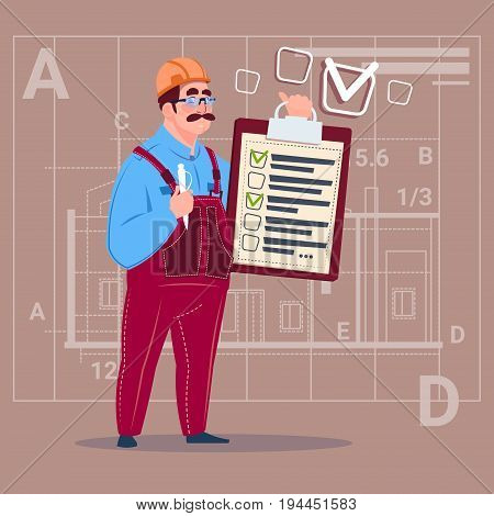 Cartoon Builder Carpenter Hold Checklist Construction Worker Over Abstract Plan Background Flat Vector Illustration