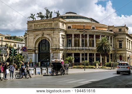 Palermo.Italy.May 26 2017.Views over Piazza Ruggero and Teatro Politeama in Palermo . Sicily
