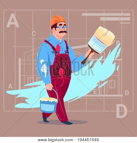 Cartoon Painter Hold Paint Brush Decorator Builder Wearing Uniform And Helmet Flat Vector Illustration