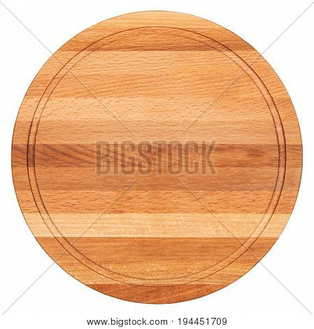 Round cutting board isolated on white background, top view