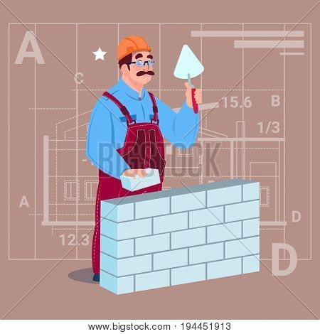 Cartoon Builder Laying Brick Wall Hold Spatula Over Abstract Plan Background Male Workman Flat Vector Illustration