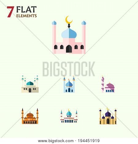Flat Icon Building Set Of Architecture, Mosque, Mohammedanism And Other Vector Objects. Also Includes Architecture, Traditional, Islam Elements.