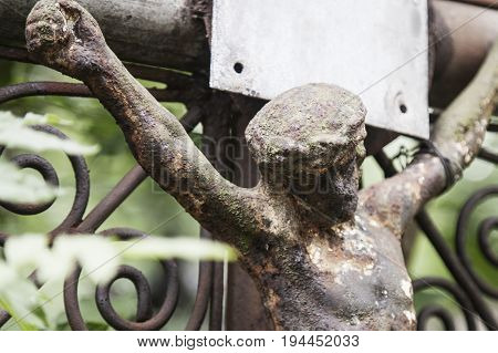 the crucifixion of Jesus Christ as a symbol of God's love (ancient statue)