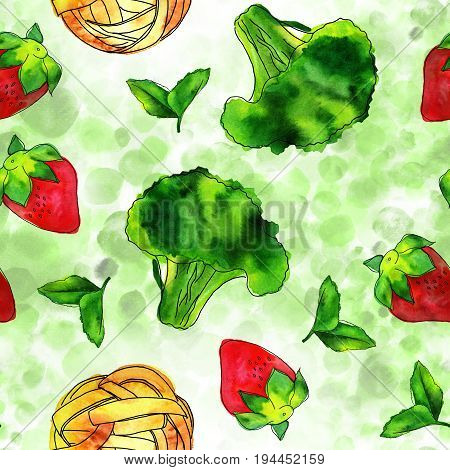 A seamless pattern of watercolour and ink vegan food themed drawings. Leaves of mint, strawberry, broccoli sprout, and pappardelle pasta nest, hand painted, on a light green dotted texture