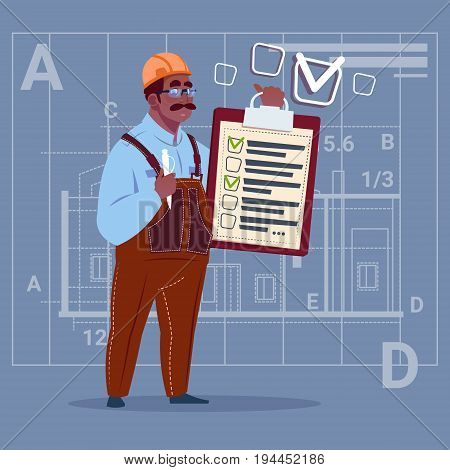 Cartoon African American Builder Carpenter Hold Checklist Construction Worker Over Abstract Plan Background Flat Vector Illustration