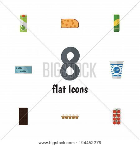 Flat Icon Food Set Of Yogurt, Tin Tuna, Packet Beverage And Other Vector Objects. Also Includes Juice, Love, Packet Elements.