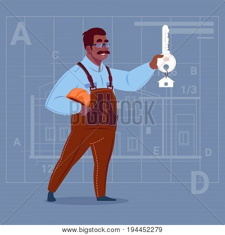Cartoon African American Builder Holding Key From New House Over Abstract Plan Background Male Workman Flat Vector Illustration