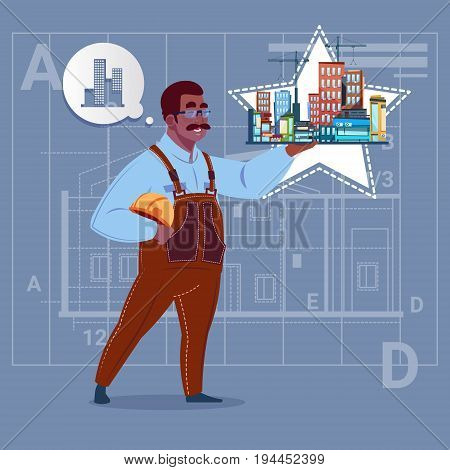 Cartoon African American Builder Holding Small House Ready Real Estate Over Abstract Plan Background Male Workman Flat Vector Illustration