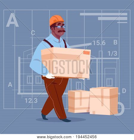 Cartoon African American Builder Carry Box Wearing Uniform And Helmet Construction Worker Over Abstract Plan Background Male Workman Flat Vector Illustration