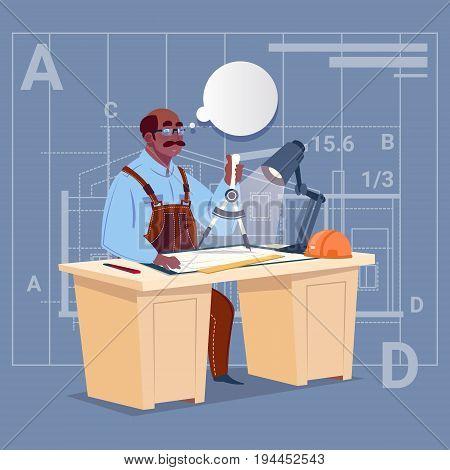 Cartoon African American Builder Sitting At Desk Working On Blueprint Building Plan Architect Engineer Flat Vector Illustration