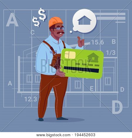 Cartoon African American Builder Hold Credit Card Sell House Real Estate Over Abstract Plan Background Male Workman Flat Vector Illustration