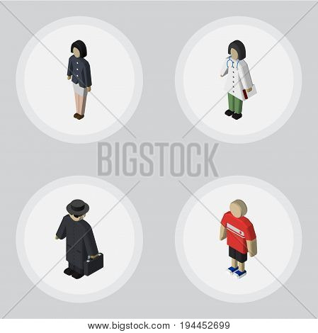 Isometric People Set Of Doctor, Guy, Detective And Other Vector Objects. Also Includes Woman, Nurse, Detective Elements.