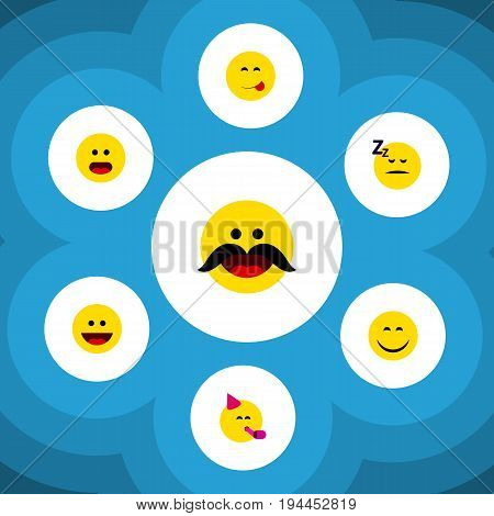 Flat Icon Gesture Set Of Asleep, Delicious Food, Cheerful And Other Vector Objects. Also Includes Asleep, Smile, Party Elements.