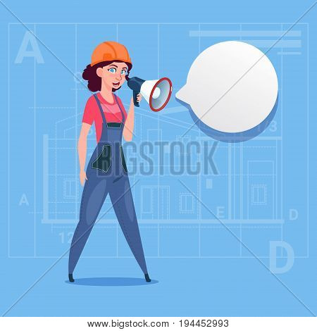 Cartoon Female Builder Holding Megaphone Making Announcement Woman Construction Worker Over Abstract Plan Background Flat Vector Illustration
