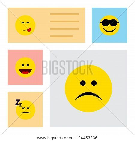 Flat Icon Face Set Of Sad, Asleep, Happy And Other Vector Objects. Also Includes Sleeping, Sad, Grin Elements.