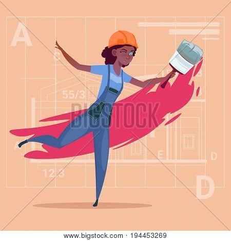 Cartoon Female Painter Hold Paint Brush African American Decorator Builder Wearing Uniform And Helmet Flat Vector Illustration