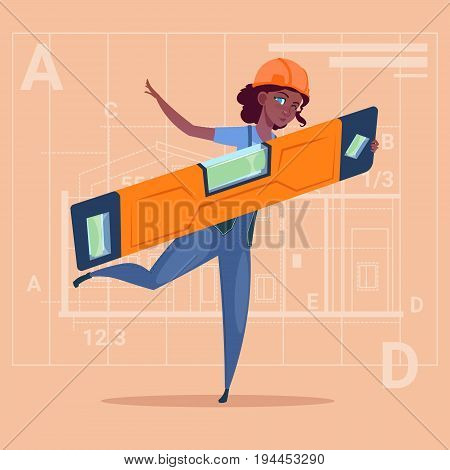 Cartoon Woman Builder Holding Carpenter Level Wearing Uniform And Helmet African American Construction Worker Over Abstract Plan Background Flat Vector Illustration