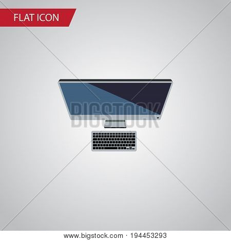 Isolated Personal Computer Flat Icon. PC Vector Element Can Be Used For Personal, Computer, PC Design Concept.