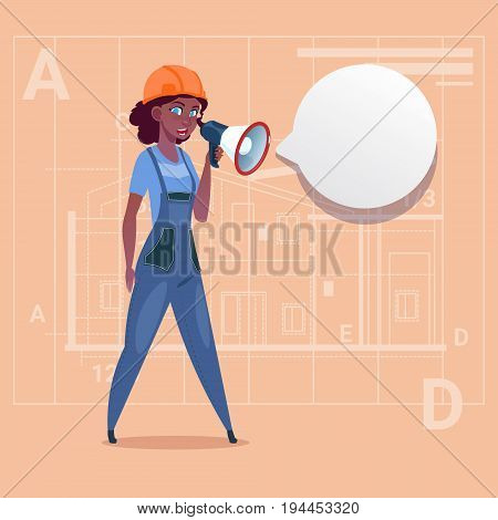 Cartoon Female Builder Holding Megaphone Making Announcement African American Construction Worker Over Abstract Plan Background Flat Vector Illustration