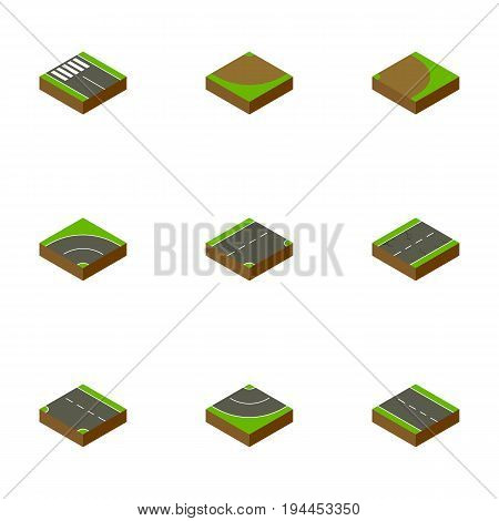 Isometric Way Set Of Down, Strip, Road And Other Vector Objects. Also Includes Cracks, Lane, Turning Elements.