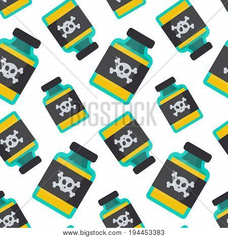 Poison bottle vector seamless pattern Flat design of toxic dangerous or medicine wallpaper with white background cute vector illustration with reflections