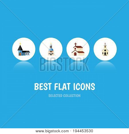 Flat Icon Building Set Of Building, Christian, Religion And Other Vector Objects. Also Includes Catholic, Christian, Religion Elements.